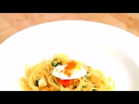 Pasta Recipe | Uni Linguine w/ Quail Eggs & Caviar | food recipes, | health food recipes,