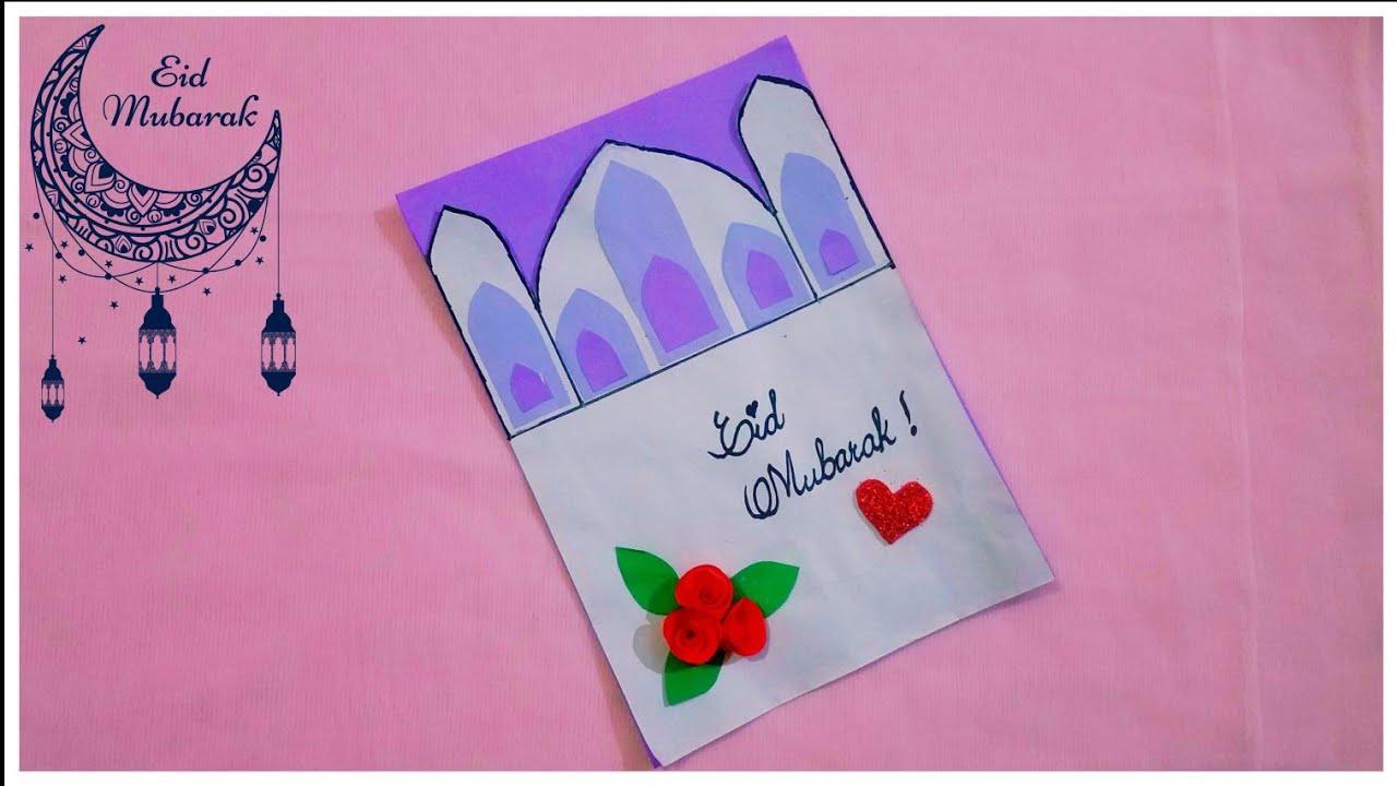diy eid card  how to make greeting card  easy eid card