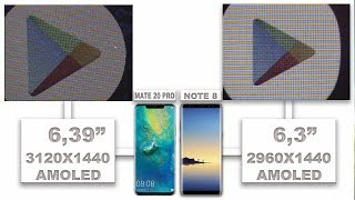 Huawei Mate 20 Pro VS Samsung Galaxy Note 8 display quality