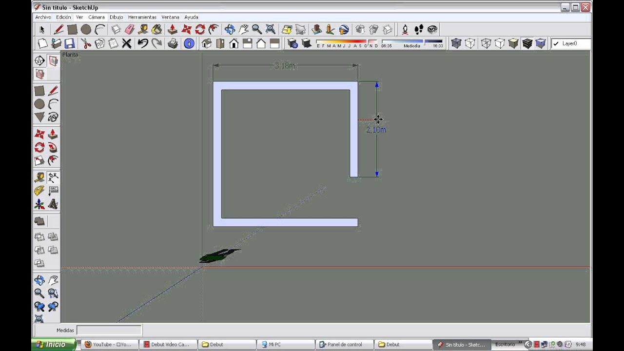 Plano 3d de una habitacion de 3x3 en sketchup youtube for Disenar habitacion 3d online gratis