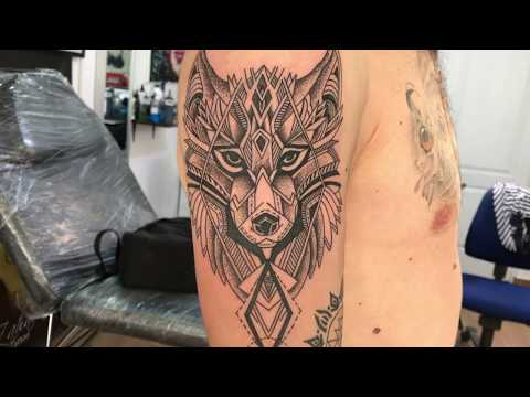 Geometric Wolf2 - Tattoo (Normal and time lapse)