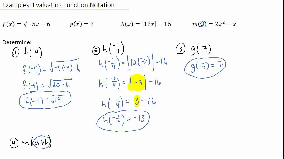 examples evaluating function notation youtube