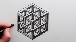 How to Draw aฑ Impossible Shape: 3D Cube Step by Step
