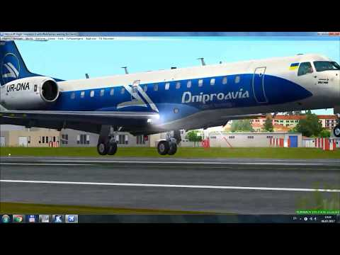 FSX DNIPROAVIA E145 Charter from Odesa to Napoli | LANDING