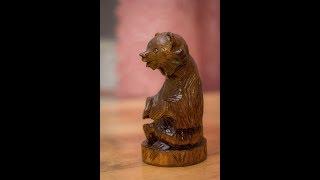 Резьба по дереву, резной медведь из клёна