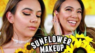 sunflower-makeup-tutorial-yellow-homecoming-hair-makeup-dress
