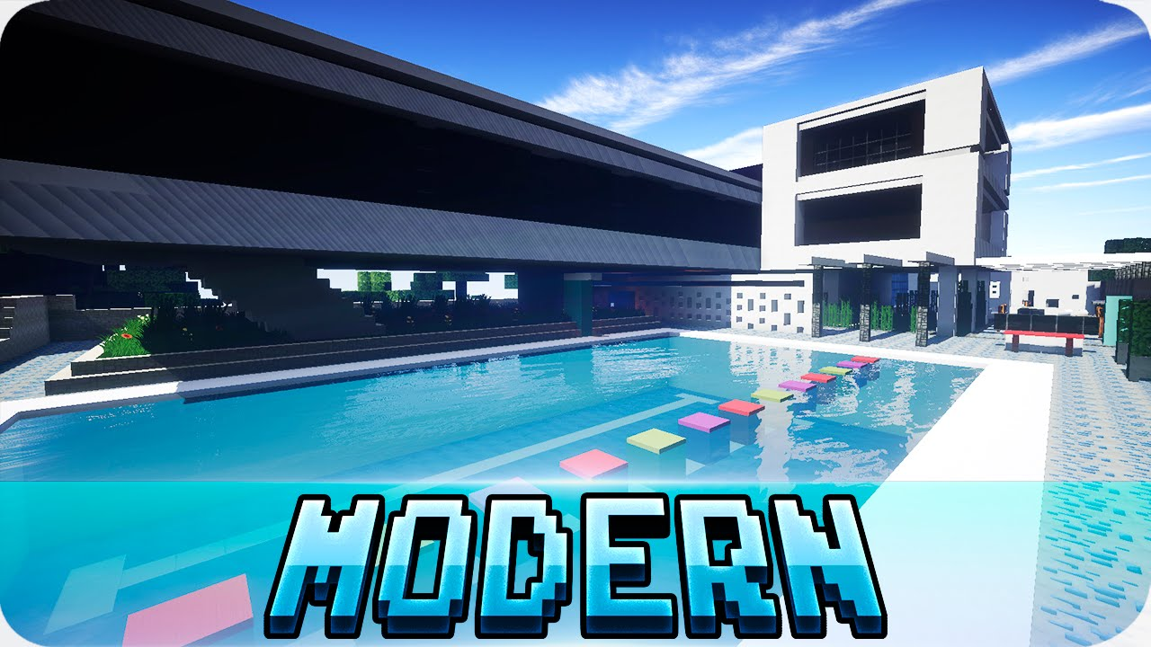 Minecraft large modern house map with download youtube for Modern house map