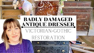 Badly Damaged Antique Dresser Gets a Gorgeous Victorian Gothic Makeover For Only $53 (Or Less!)