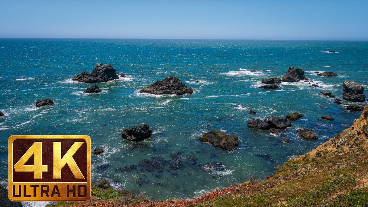 4K Ocean Relaxation Video - Californian Beach   5 Hours Ocean Waves Sounds  - Part 1