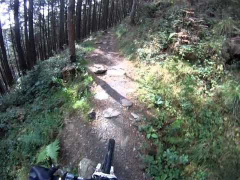 "Y Wal ""the Wall"" Afan Argoed, Wales Downhill mountain biking. The 3 Final decents on the wall Gopro"