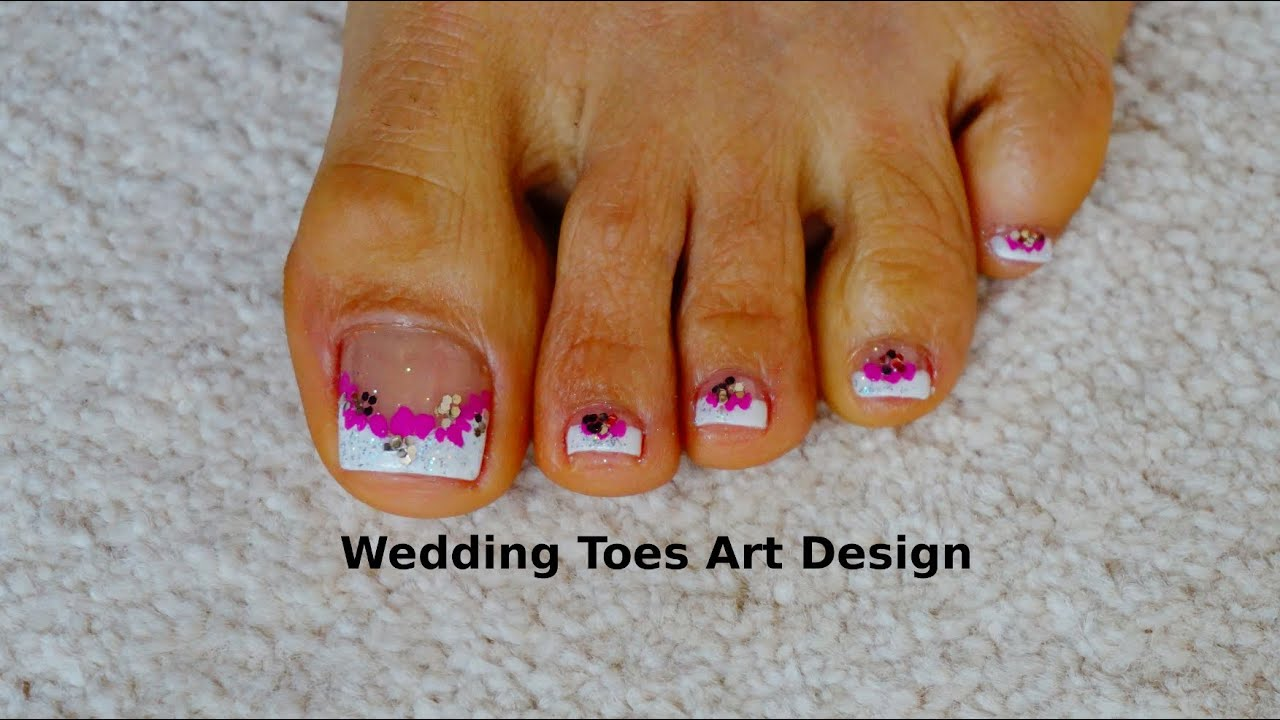 Tutorial Beginners Wedding Toes Art Design French Pedicure Magenta ...