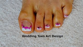 Tutorial Beginners Wedding Toes Art Design French Pedicure Magenta/Glitter(Hi,I like to have my toes clean and pained,so I came up with this lovely design great for Summer,Wedding,Party's or any other occasion. Enjoy! How I paint the V ..., 2015-07-29T06:00:00.000Z)