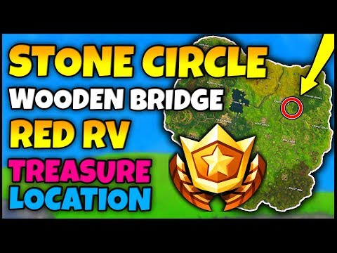 """Fortnite: """"SEARCH BETWEEN A STONE CIRCLE, WOODEN BRIDGE AND A RED RV"""" 