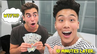 GIVING $100 EVERY MINUTE BESTFRIEND SPENDS WITH ME!! *DONT TRY THIS*