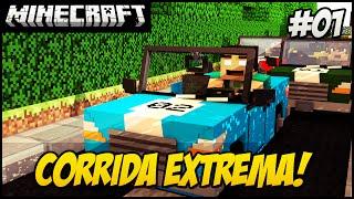 Minecraft - Corrida MALUCA!! #1 CARROS NO MINECRAFT?