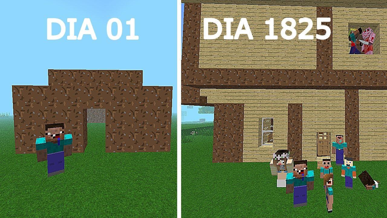 La Vida Del Noob -  DEL DIA 1 VS DIA 1825 - MINECRAFT TROLL