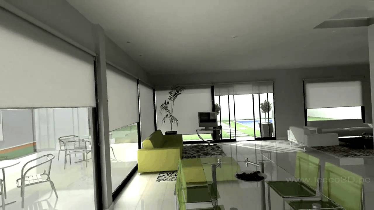Proyectos en 3d animaci n de un loft youtube for Casa minimalista 100m2