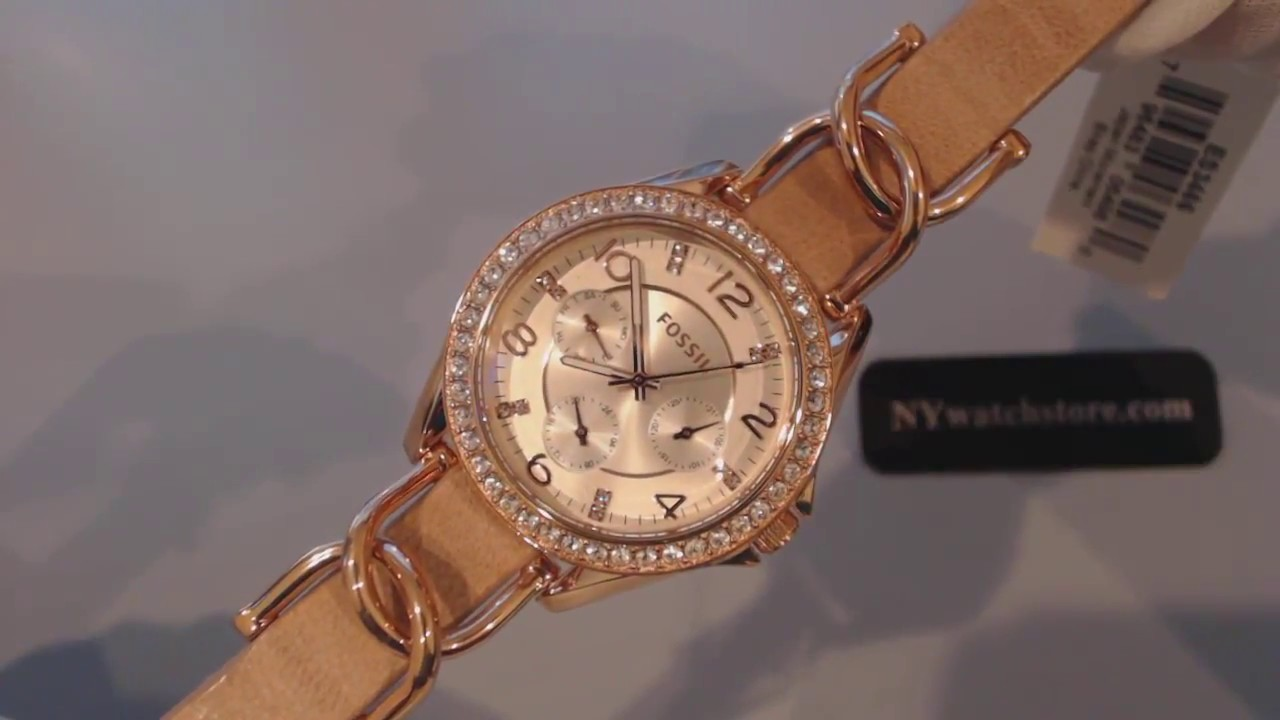 Fossil Riley Women S Rose Gold Fossil Riley Multi Function Glitz Watch Es3466