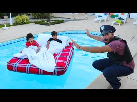ADEL AND SAMI BED IN OUR SWIMMING POOL ,fun videos for kids and Johny Johny Yes Papa