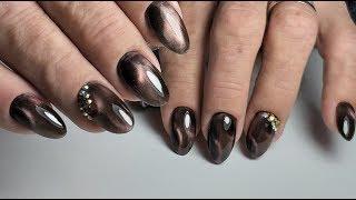 ❤ КОРРЕКЦИЯ гелевых ногтей ❤ COSMOPROFI ❤  как КРЕПИТЬ СТРАЗЫ ❤ Дизайн КОШАЧИЙ ГЛАЗ на ногтях ❤