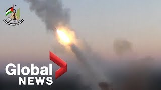 Palestinian video reportedly shows rockets being fired towards Israeli positions
