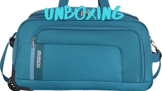 American Tourister CAMP WHEEL DUFFLE 57cm,Teal Duffel Strolley Bag Unboxing