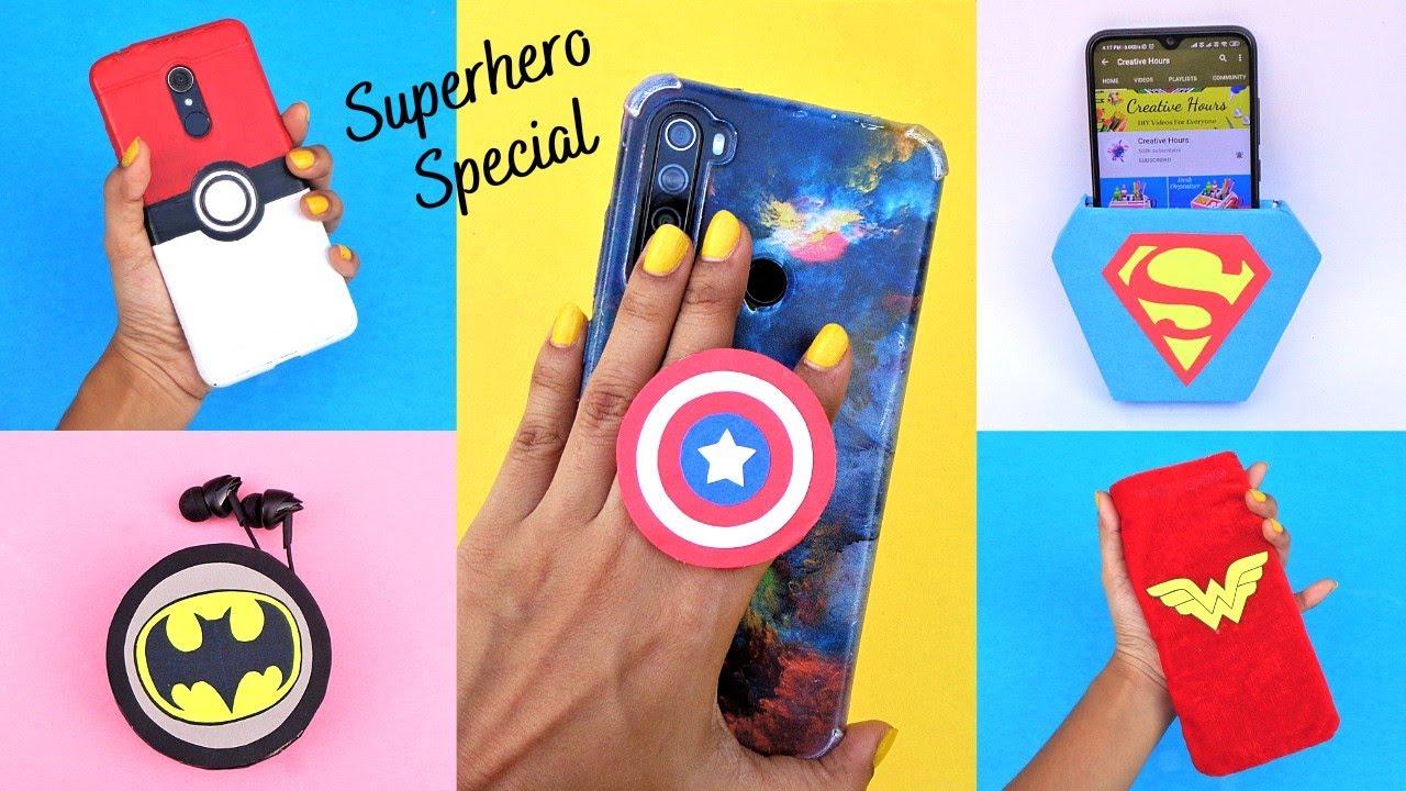 5 Amazing Superhero Phone Cases & Phone Accessories/ Best out of waste/ DIY Phone Hacks
