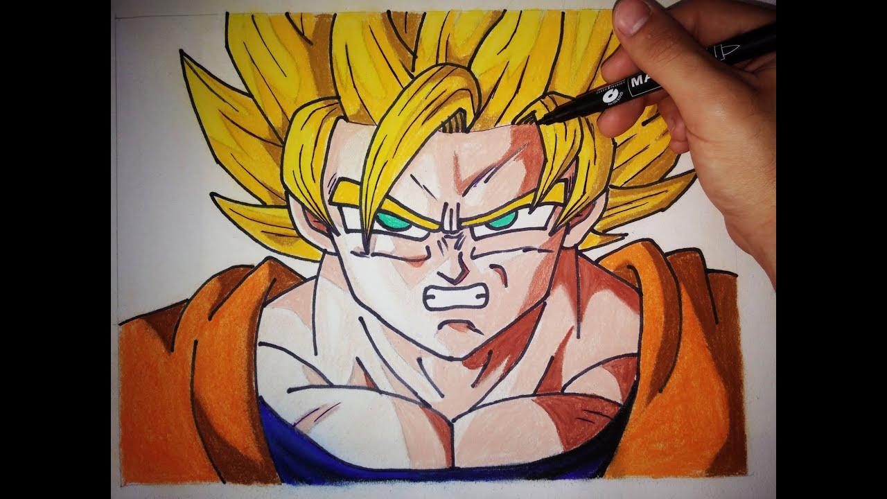 Como dibujar a Goku SSJ paso a paso  How to draw goku SSJ