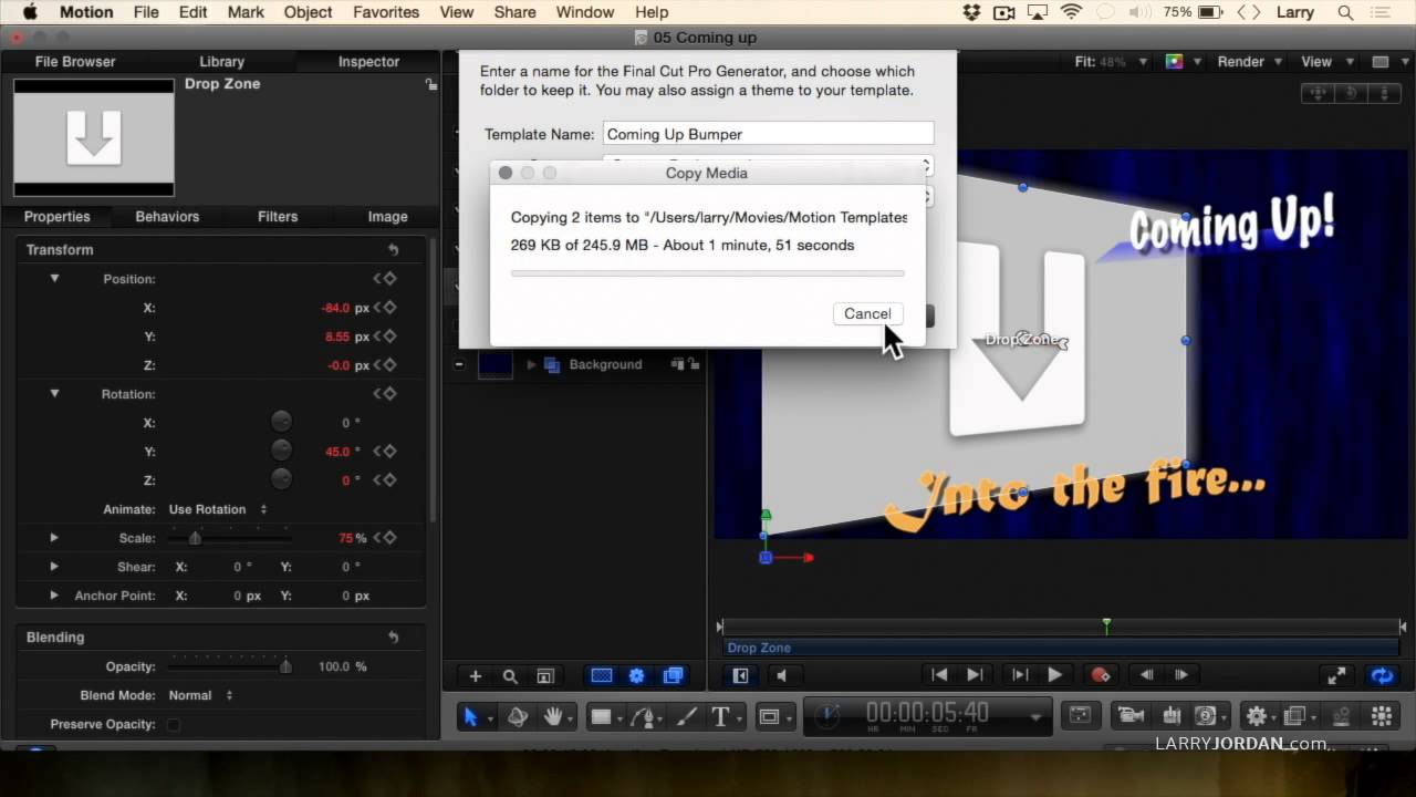 Create a 3D Set in Motion 5 for FCPX. Larry Jordan