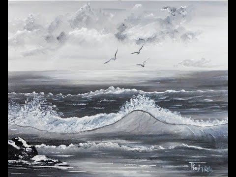 Seascape Acrylic Painting On Canvas In Black And White For Beginners