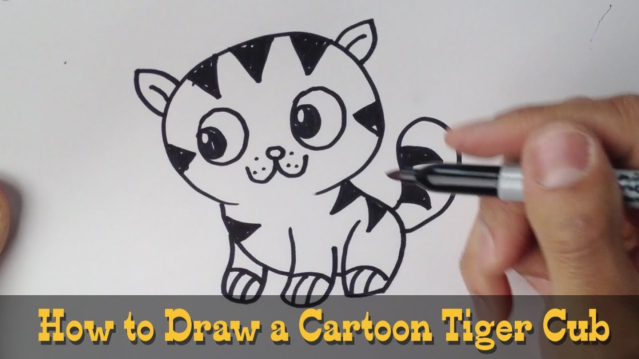 How to draw a cute tiger step by step - photo#15