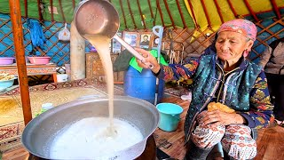 SURVIVAL MONGOLIAN FOOD!! Grandma Survives on Dairy + Breakfast Food in Mongolia!