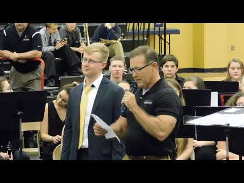 Paola High School Concert band 05 02 2018 Announce, bandstand