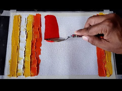 Abstract painting / Simple palette knife technique / Acrylics / Demonstration