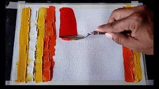 Abstract painting  Simple palette knife technique  Acrylics  Demonstration