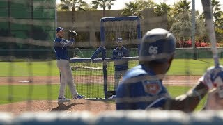 Clayton Kershaw pitches to Yasiel Puig, Chris Taylor in live BP
