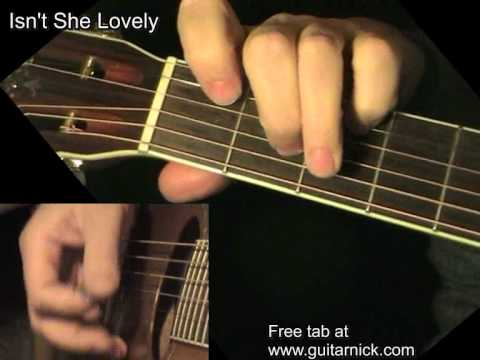 ISN\'T SHE LOVELY: Acoustic Guitar Lesson + TAB by GuitarNick - YouTube
