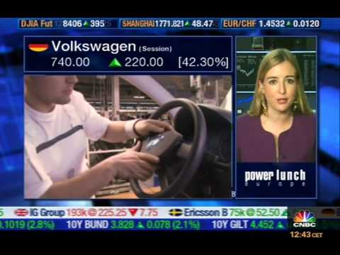 Linda Behringer reporting live for CNBC Europe on 28th October 2008 - Volkswagen´s short squeeze