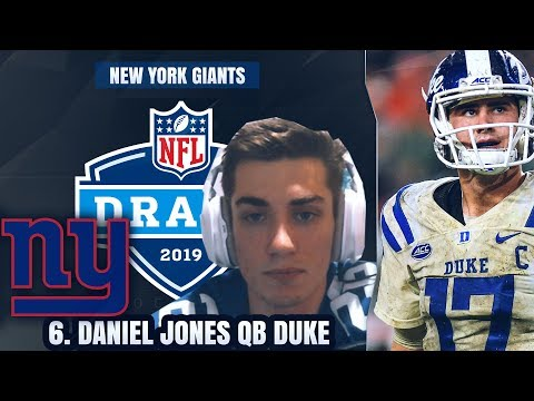New York Giants Fan Reacts to New York Giants Drafting Daniel Jones at #6