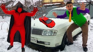 Sorcerer Red Man Enchanted Motorcycle VS Mr. Joe on Nissan Cedric & Turned in Toy Car for Kids