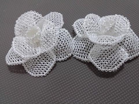 İğne Oyaları Beyaz Gül Yapılışı-How To Make A White Rose In Needles