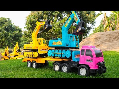 Learn Colors with Construction Vehicles - Excavator ,Dump truck, Trailer truck , Crane Truck