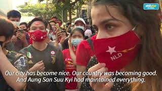 Myanmar migrant workers in Thailand protest against coup