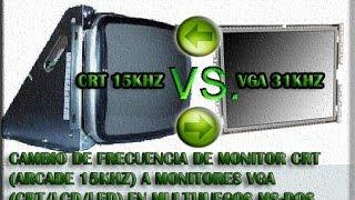 cambio de frecuencia de monitor arcade crt a vga crt lcd led