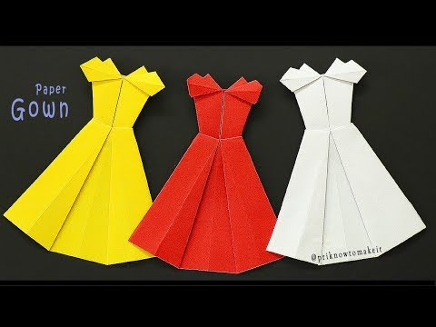 origami dress - How to make origami paper dresses | paper craft, Princess Dress