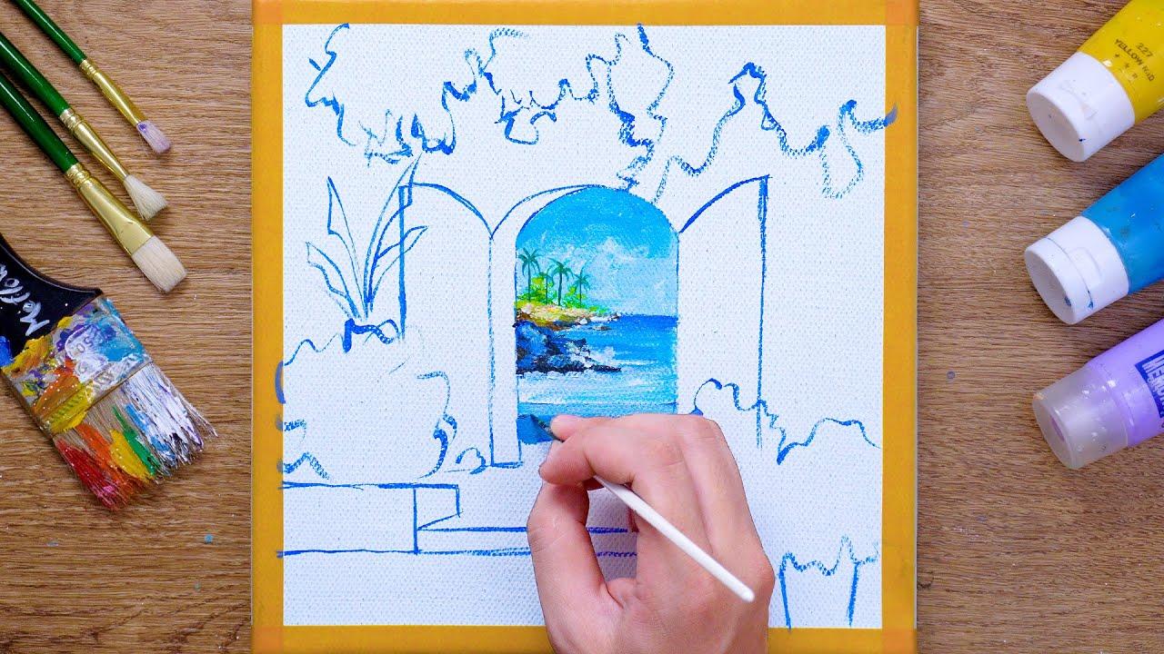 Ocean View Doorway Seascape Acrylic Painting  - Daily Art 112
