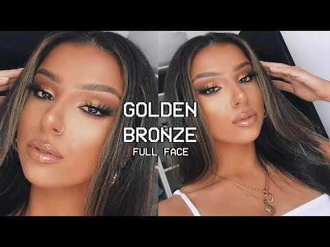 golden-bronze-full-face-glam-makeup-tutorial-|-summer-2019