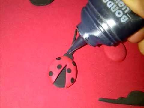 Manualidad sencilla. Mariquita de foamy y pintura. Foam Ladybug ...