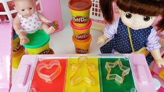 Play doh and baby doll color cookie with cooking toys food play - 토이몽