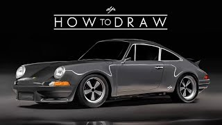 HOW TO DRAW a Porsche 911 964 Backdate   Step by Step   Realistic - drawingpat